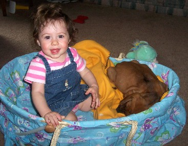 Olivia and her new bloodhound puppy, Ellie.