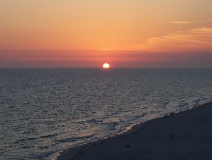 Florida sunset from balcony at Panama City Beach.