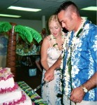 Hawaiian Luau Wedding Cake Cutting